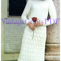 1970s Knitting Vintage Pattern | Wedding Dress and Bonnet | 2 Knitting Patterns-DIY Wedding Dress-Wedding Gown-Knitting Pattern--UK England