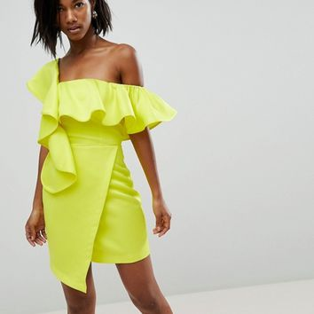 ASOS Asymmetric Ruffle Wrap Mini Cocktail Dress at asos.com