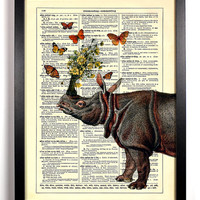 The Rhino and His Friends Repurposed Book Upcycled Dictionary Art Vintage Book Print Recycled Vintage Dictionary Page Buy 2 Get 1 FREE
