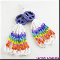 Rainbow Peace Sign Beadwork Dangle Loop Hippie Seed Bead Earrings