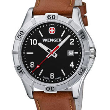 Wenger Mens Platoon Watch - Stainless Steel - Black Dial - Brown Leather  - Date