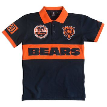 Chicago Bears KLEW Forever Collectibles Wordmark Rugby Polo Shirt Size M-XXL