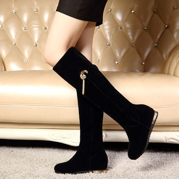 Black Tassel Rhinestone Women Knee High Boots Wedges Shoes Woman 2016 3473