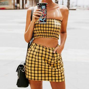 Newest Fashion Women Sexy Plaid Strapless Top Skirt Two Piece Set