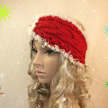 Cable Chunky Knitted Santa Christmas Headband Adult Red Cream of White Cable Knit Infinity Wide Headband Turban Angora Mohair Wool  Xmas