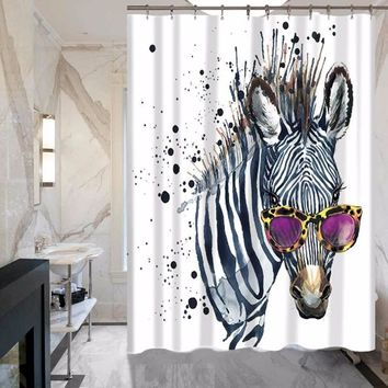 Zebra Polyester Waterproof Bathroom Shower Curtain