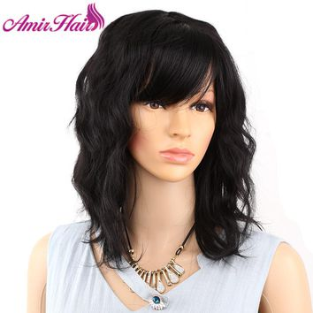 Amir Medium Length Hair Synthetic Wigs Flapper Hairstyles for Women Finger Wavy Wigs Black and Brown Colors Synthetic Wig