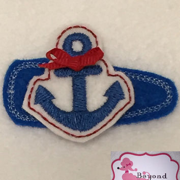 Nautical baby hair clip, anchors, custom color hairclips and embellishments, toddler, girl, adult,embroidered felt barette, baby bows, glitz