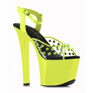 Ellie Shoes E-711-Solar 7 Heel Neon Platform Blacklight Reactive Spikes