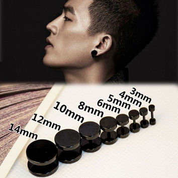 Push-back Trendy Stainless Steel Stud Earrings For Men Ear-0391