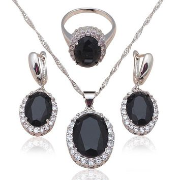 Black Zirconia Inlay Silver Stamped Cool Fashion Jewelry Set for women Black Onyx Necklace Earrings Ring #6#7#8#9#10