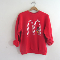 Vintage McDonalds RED Sweatshirt w Hamburgler / novelty sweater / L