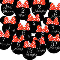 14 Red Minnie Mouse Ears Baby Girl Monthly Milestone Onesuit Stickers Newborn Shower Gift