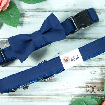 Navy Blue Dog Collar with Removable Bow Tie