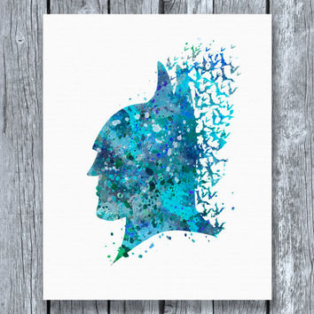Batman Head Watercolor Art Print Instant Download