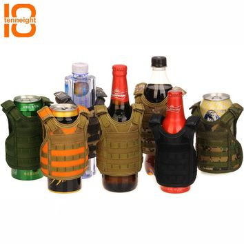 TENNEIGHT Tactical Beer vest Military Molle vest mini Miniature Wine bottle cover vest Beverage Cooler Adjustable shoulder strap