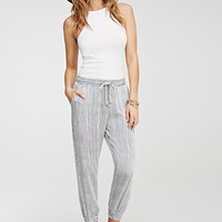 Contemporary Life in Progress Drawstring Striped Joggers