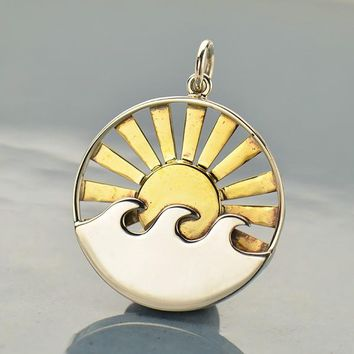 Sterling Silver Wave Pendant with Bronze Sun Rays