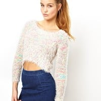 ASOS Fluffy Crop Sweater In Multi Yarn - Multi