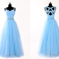 2015 hot sky blue floor-length prom dress with sequins,evening dress with Criss Cross Straps, tulle long prom dresses,formal dress ,RS1043