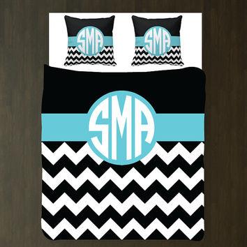 Custom Chevron Woven Duvet Bedding Set with Euro Shams-Personalized-Circle Monogram-Aqua Blue-Black-White OR ANY COLORS-Twin-Full/Queen-King