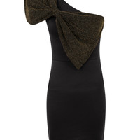 One Shoulder Metallic Effect Bow Bodycon Dress-Black&Gold