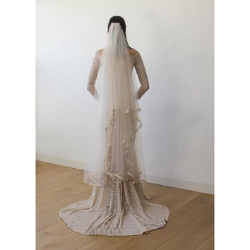 Wedding Veil full length - Tulle Veil With Lace Trim 4017