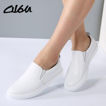 O16U Brand Women Slip on Casual Flats Shoes natural Leather White Sole Female Lazy Shoes Ladies White Black Metallic Faux shoes
