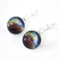 Aurora Nebula 10mm Glass Dome Cabochon Post Earrings // Gift Under $25
