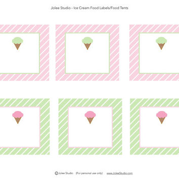 Retro Ice Cream Birthday Party Printable Food Labels/Tents: INSTANT DOWNLOAD