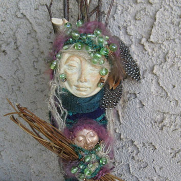 White Birch Dryad, Assemblage Bohemian Eco Botanical Art Doll by Griselda
