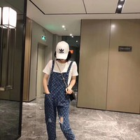 """Louis Vuitton"" Women Casual Fashion  Print Denim Back Strap Pants Trousers Romper Jumpsuit Jeans"