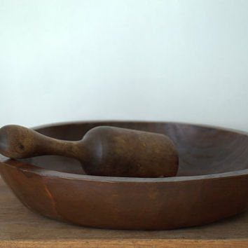 Vintage Hand Carved Round Wood Serving Bowl