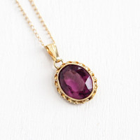 Vintage 14k Yellow Gold Simulated Amethyst Necklace - 1950s Gold Link Chain Purple Glass Stone Fine Jewelry