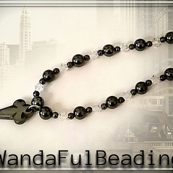 Black Hematite and Swarovski Crystal Beaded Pendant Necklace - $25.00 - Handmade Jewelry, Crafts and Unique Gifts by WandaFulBeading