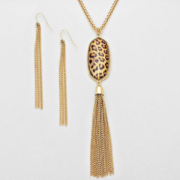 Leopard Print Tassel Earring Necklace Set