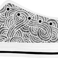 Grey and white swirls doodles White Low Tops