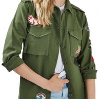 Topshop 'Sandy' Badge Shirt Jacket | Nordstrom