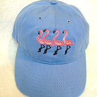 Four Flamingos On a Baseball Cap, Flamingo Pink Flamingos Embroidered on a Blue Baseball Cap.  Happy Flamingos on a Baseball Cap