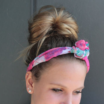 Pink and Mint Summer Floral Twist Head Scarf Dolly Bow Wire Headband Bun Wrap
