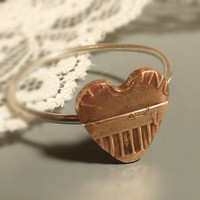 Heart Shaped Penny Ring with Sterling Silver Band- Stacking Rings, Hand Cut, Recycled, Eco Friendly Jewelry, Valentines Day Heart Ring