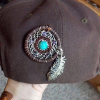 Sacred Geometry Dream Catcher Hat Pin with Amethyst and Turquoise Jasper // Heady Festival Jewelry