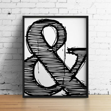Ampersand sketch, 8x10 digital print, black and white, instant printable poster, typography, download, wall art, modern print