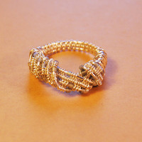 Wire Wrap Ring - Gray Silver Beads - Silver Filled Wire - Any Size - Jewelry - Rings