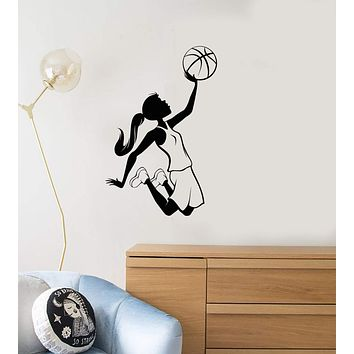 Vinyl Wall Decal Teen Girl Basketball Player Sports Kids Room Interior Stickers Mural (ig5847)
