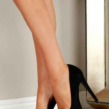 Peep Toe Suede Pumps Black