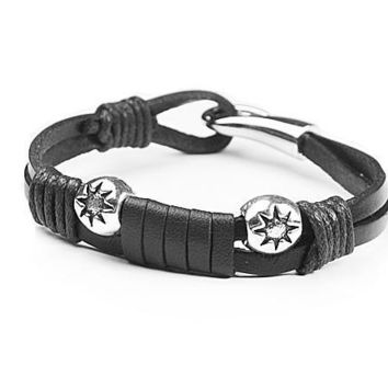 New Arrival Great Deal Stylish Hot Sale Gift Awesome Shiny Leather Accessory Handcrafts Men Bracelet [6526721795]