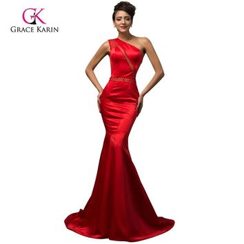 Sexy Long Red Mermaid Prom Dresses 2017 Grace Karin One Shoulder vestidos de fiesta For Special Occasion Evening Prom Dresses