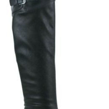 Chuck Black Leatherette Buckle Thigh High Lug Sole Riding Engineer Boots size 8