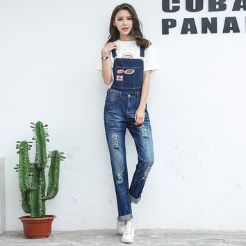 Full Sizes Womens Jumpsuit Denim Overalls Women 2018 New Casual Strap Hole Ripped Jeans two use Overalls